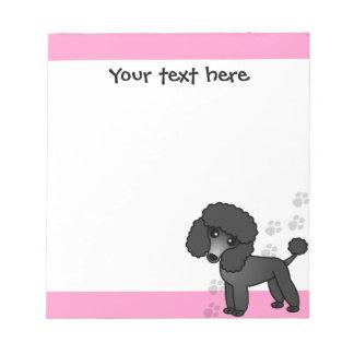 Cute Black Poodle Cartoon Blue Pink Print Note Pads