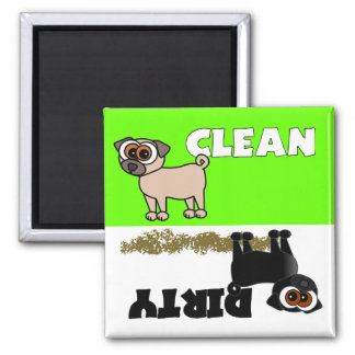 Cute Black Pug Clean / Dirty Dishwasher Magnet