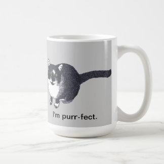 Cute Black White Cat in Pointillism Purr-fect Mugs