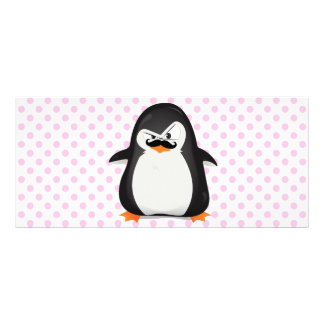 Cute Black  White Penguin And  Funny Mustache Rack Cards