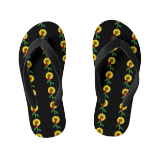Cute Black with Sunflower Pattern Thongs