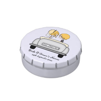 Cute Blonde Bride and Groom in Vintage Wedding Car Candy Tin