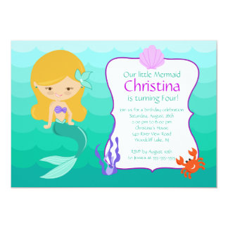 Cute Blonde Mermaid Birthday Invitation