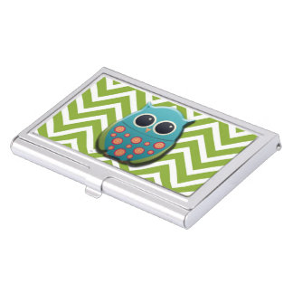 Cute Blue and White Owl on Green and White Chevron Business Card Holder