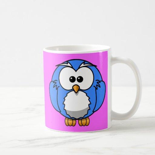 Cute blue animated little owl coffee mug