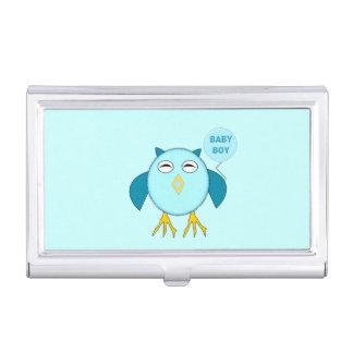 Cute Blue Baby Boy Owl Business Card Holder