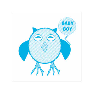 Cute Blue Baby Boy Owl Self Inking Stamp