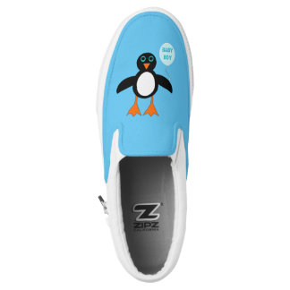 Cute Blue Baby Boy Penguin Slip On Shoes