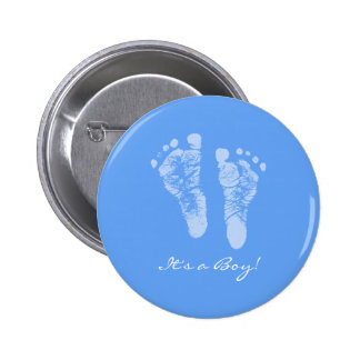 Cute Blue Baby Footprints Its a Boy Baby Shower Pinback Button
