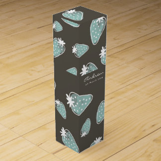 CUTE BLUE BROWN WATERCOLOUR STRAWBERRIES MONOGRAM WINE GIFT BOX