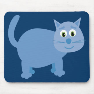 Cute blue cartoon cat mousepad