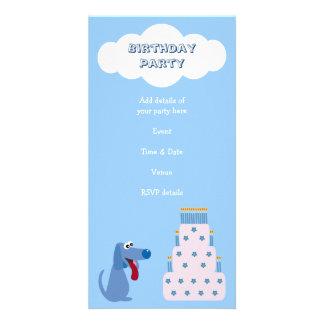 Cute Blue Cartoon Dog & Birthday Cake Invitations Photo Cards