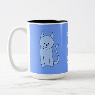 Cute Blue Cat Cartoon Two-Tone Coffee Mug