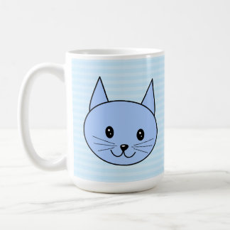 Cute Blue Cat. Light blue stripe background. Mug