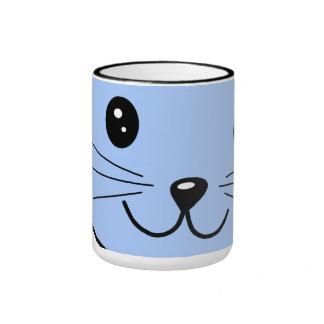 Cute Blue Cat Ringer Mug