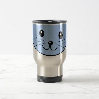 Cute Blue Cat Stainless Steel Travel Mug
