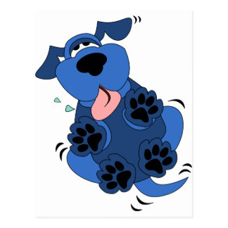 Cute Blue Dog design Post Cards