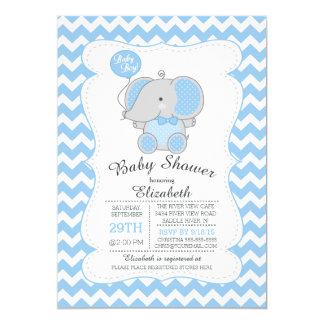 "Cute Blue Elephant Boys Baby Shower Invitation 5"" X 7"" Invitation Card"