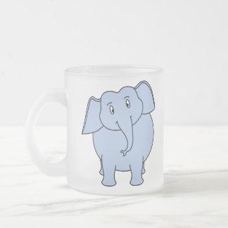 Cute Blue Elephant Cartoon. Frosted Glass Mug