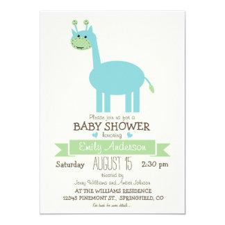 Cute Blue Giraffe, Jungle Zoo Animal Baby Shower 5x7 Paper Invitation Card