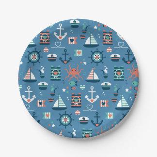 Cute blue nautical captain maritime pattern 7 inch paper plate