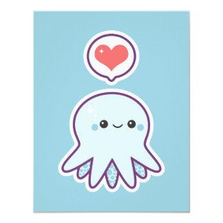 Cute Blue Octopus Birthday Party Invitations