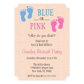 Cute Blue or Pink Footprint Gender Reveal Invite