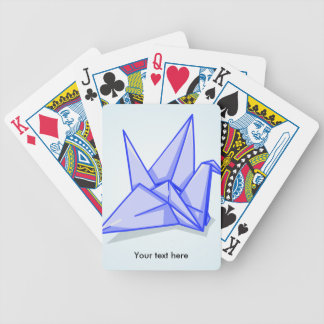 Cute blue origami paper crane bicycle playing cards