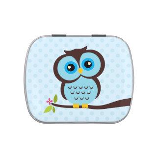 Cute Blue Owl Candy Tin