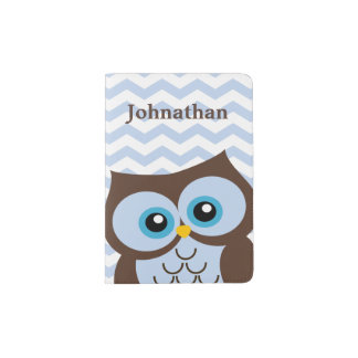 Cute Blue Owl Custom Monogram Passport Holder