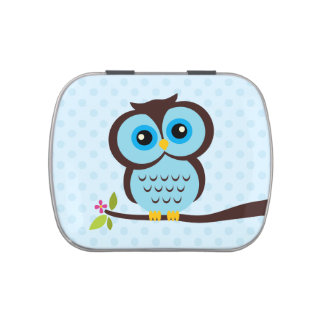 Cute Blue Owl Jelly Belly Candy Tins