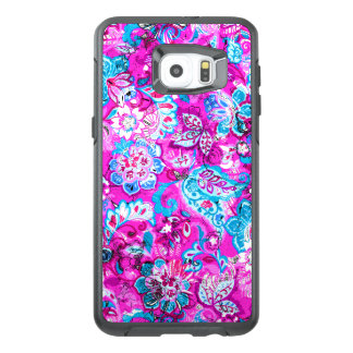 Cute blue pink flowers patterns OtterBox samsung galaxy s6 edge plus case