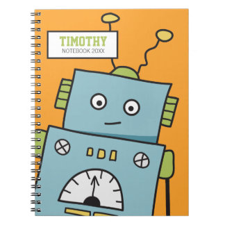 Cute Blue Robot with Personalised Name Spiral Notebook