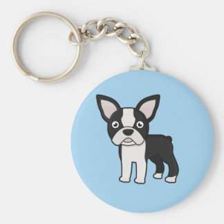 Cute Boston Terrier Basic Round Button Key Ring