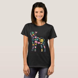 Cute  Boston Terrier floral design T-Shirt
