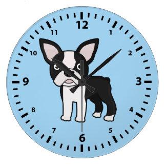 Cute Boston Terrier Large Clock