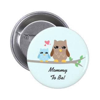 Cute Boy Baby Shower Owl 6 Cm Round Badge