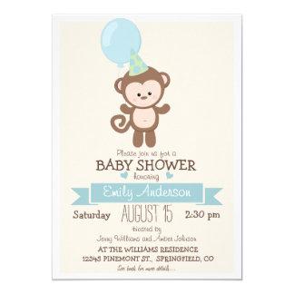 Cute Boy Monkey, Jungle Zoo Animal Baby Shower 5x7 Paper Invitation Card