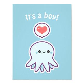 Cute Boy Octopus Baby Shower Invitations
