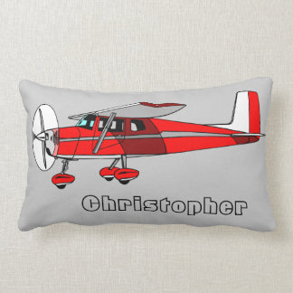 Cute Boy's Pillow, Red Aeroplane w/ Name Lumbar Cushion