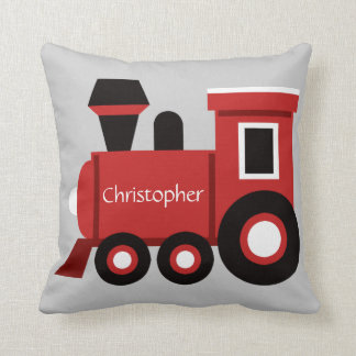 Cute Boy's Pillow, Red Train w/ Name Throw Pillow