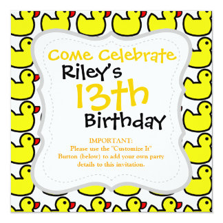 Cute Bright Yellow Rubber Ducky Pattern Card
