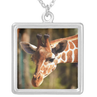 Cute Brown and White Giraffe Face Portrait Silver Plated Necklace