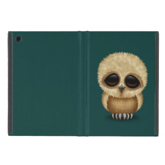 Cute Brown Baby Owl Chic on Teal Blue Covers For iPad Mini
