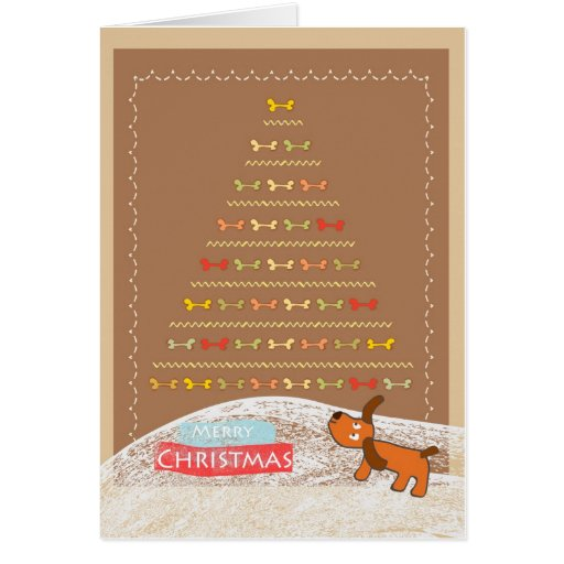 cute brown dog Christmas card