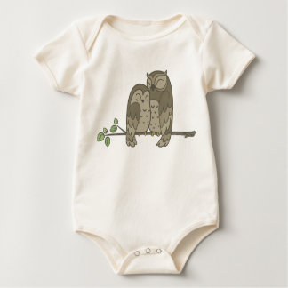 Cute Brown Owl Couple on a Branch Bodysuit