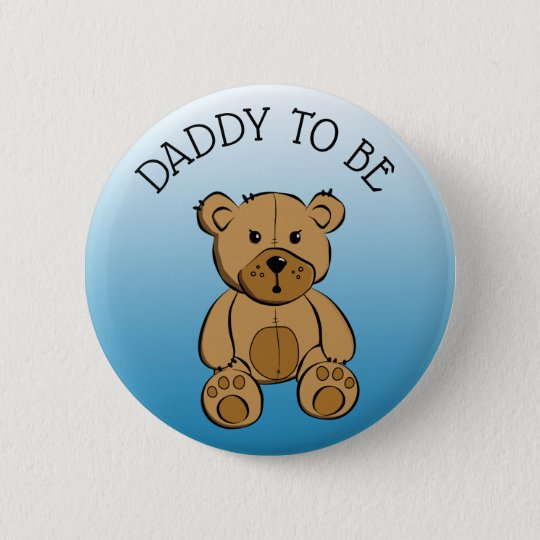 Cute Brown Teddy Bear Dad to be Button