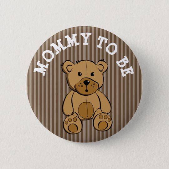 Cute Brown Teddy Bear Mummy to be Button