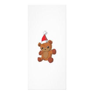 Cute Brown Teddy Bear Red Santa Hat Invitations Rack Card Template