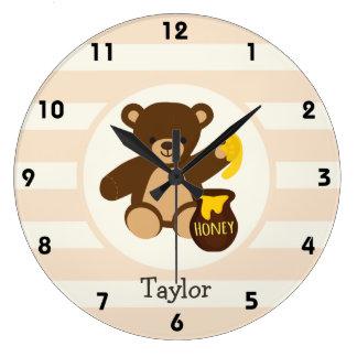 Cute Brown Teddy Bear with Yellow Honey Wall Clocks